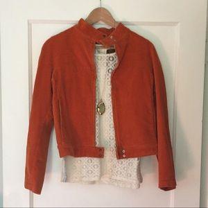 🍊 Burnt Orange Corduroy Moto Jacket 🍊